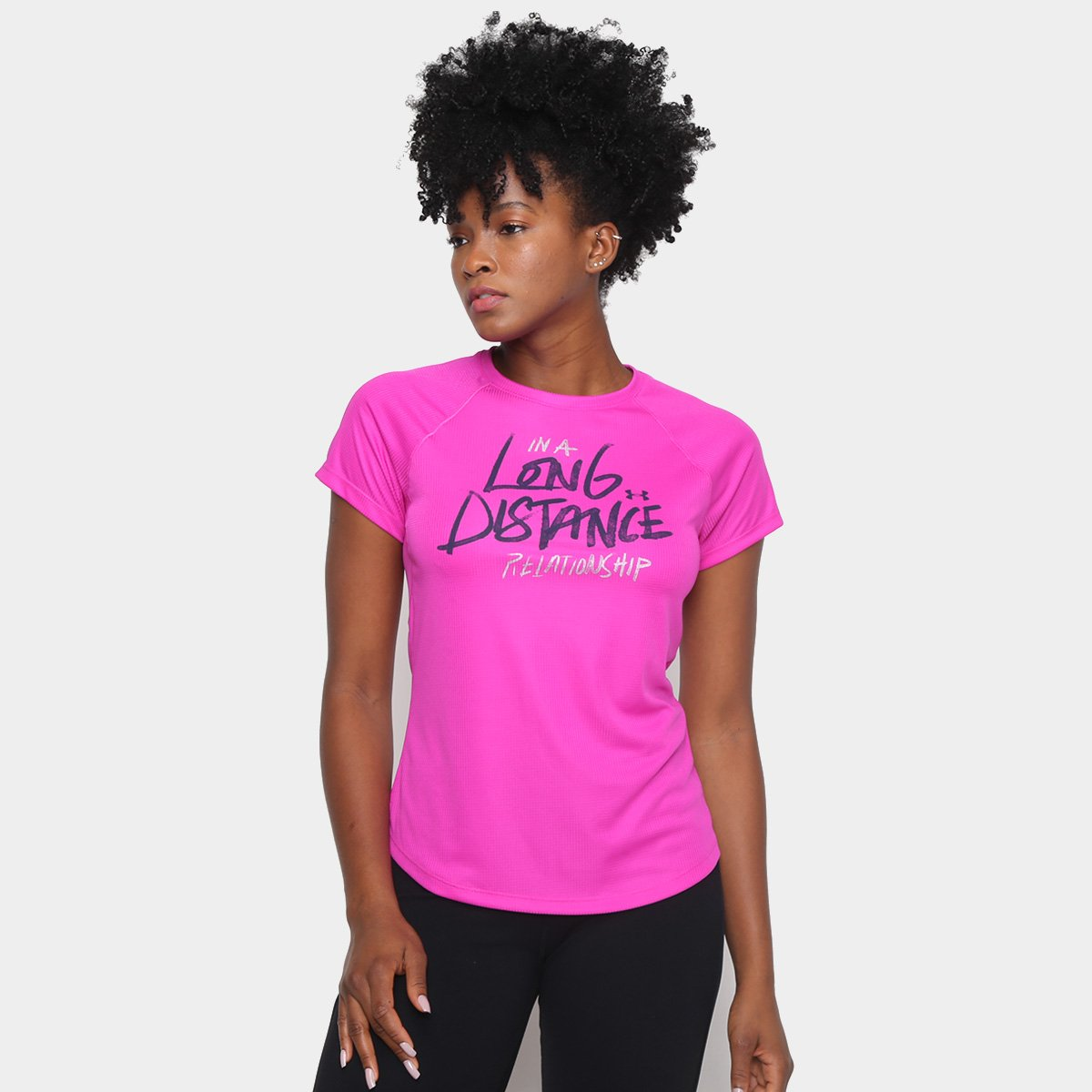 Camiseta Under Armour Feminina Strid Rosa e Cinza