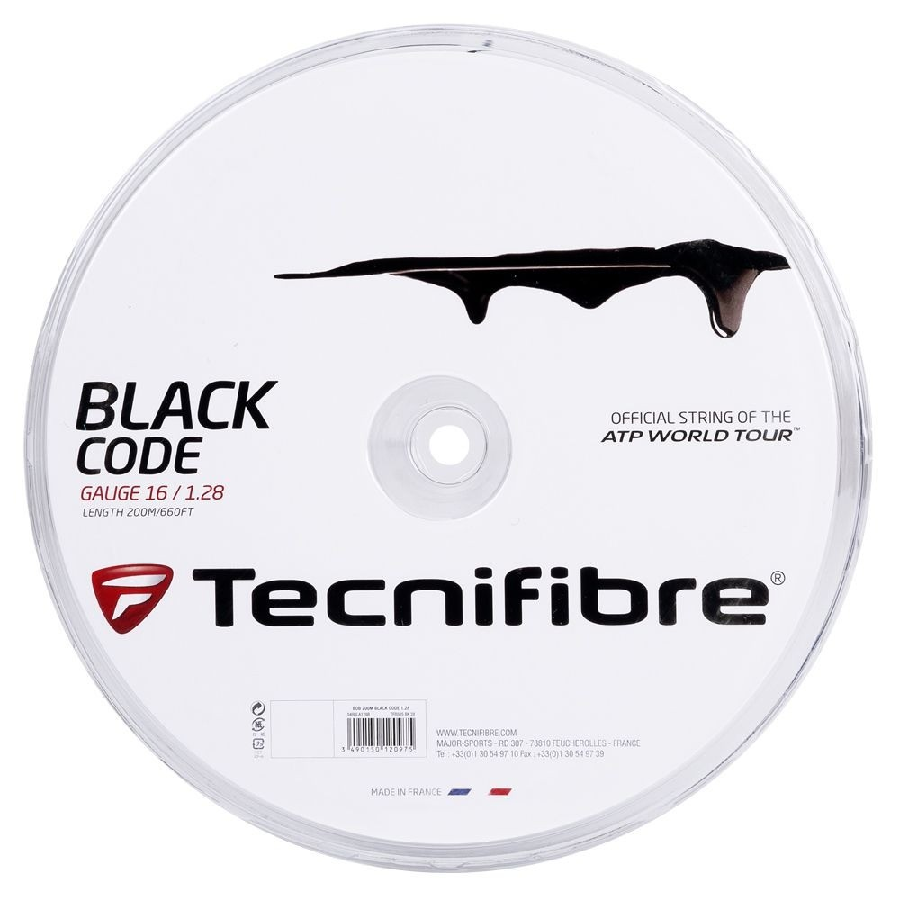 Corda Tecnifibre Black Code 1,28 Preta - Rolo c/200 Metros
