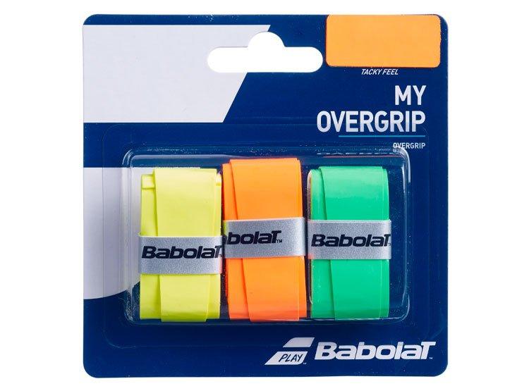 Overgrip Babolat My Verde Laranja e Amarelo Cartela c/3 Unidades