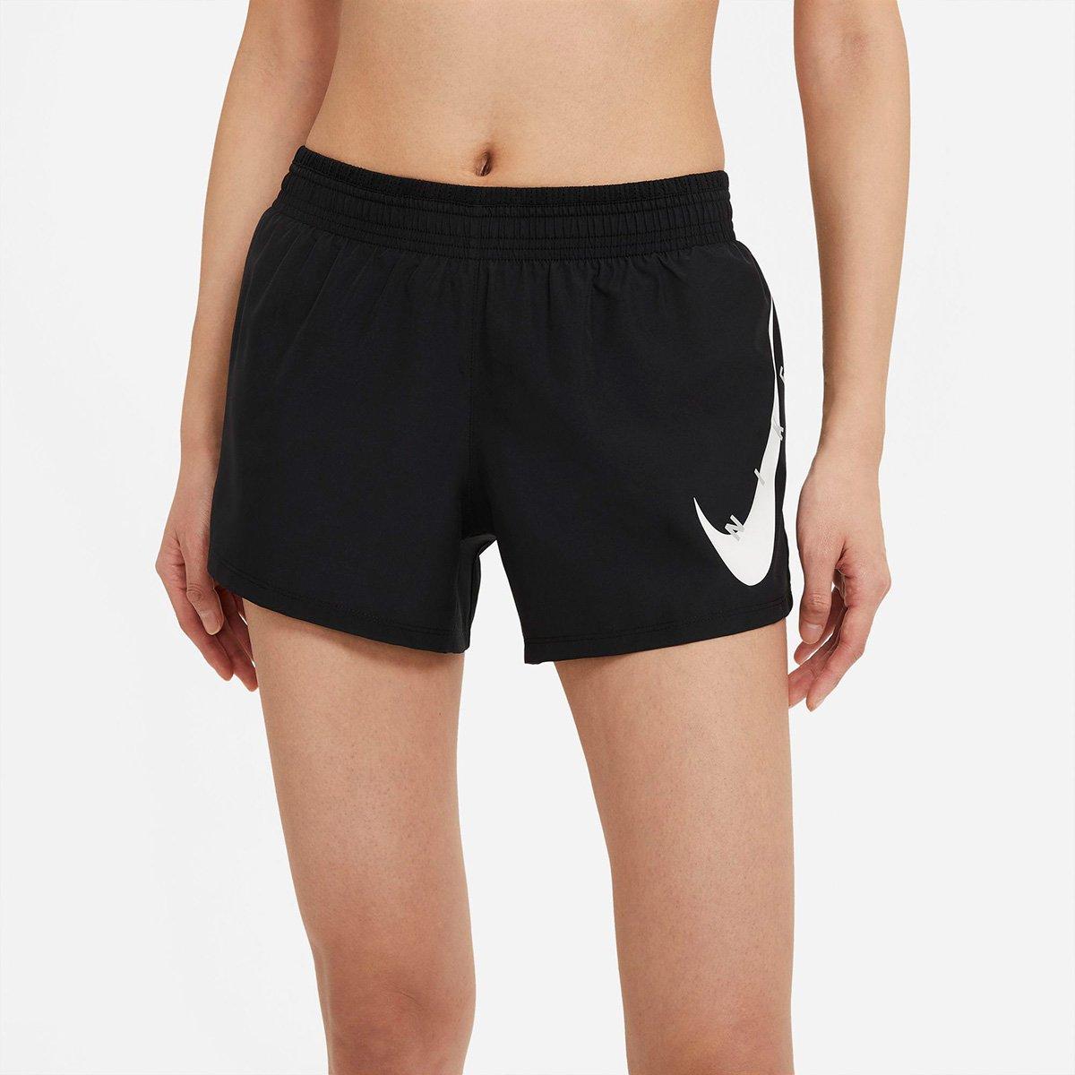 Short Nike Feminino Swoosh Run Preto e Branco
