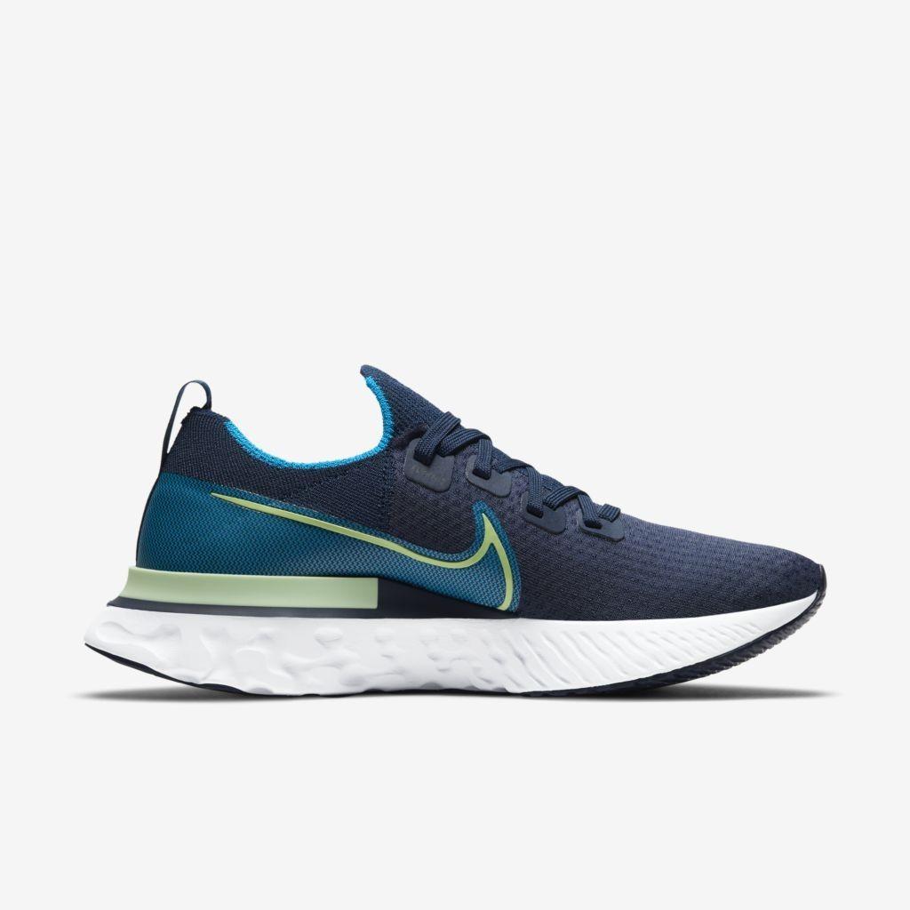 Tênis Nike Masculino React Run Flyknit Marinho/Verde