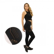 Calça Legging Feminina de cintura alta com detalhes vazados