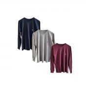 Camisa Básica Manga Longa 100% algodão com elástico nos punhos