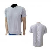 Camisa de Manga Curta de Poliamida com Elastano Cinza costas Estampada