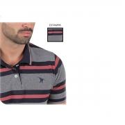 Camisa Polo Masculina Cinza com listra Vermelha