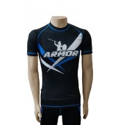 Rash Guard Armor Fight Manga Curta Logo Azul