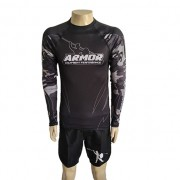 Rash Guard Manga Longa Armor Fight Preta Camuflada