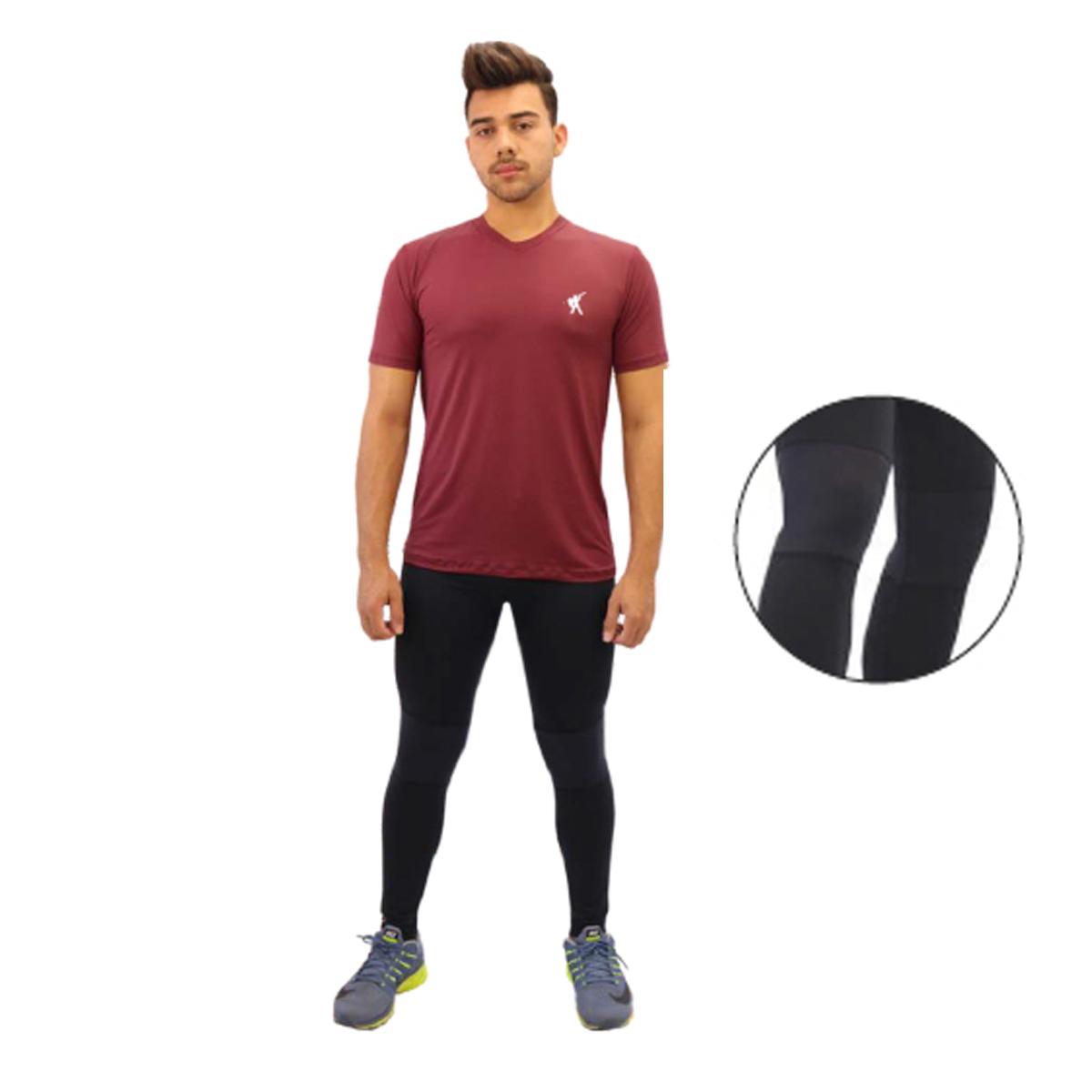 Calça Legging Esportiva Masculina com detalhes no joelho e proteção UV