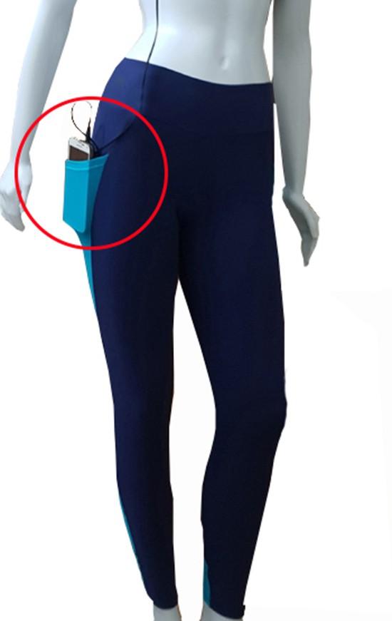 Calça Legging Marinho com Bolso Lateral - Feminina