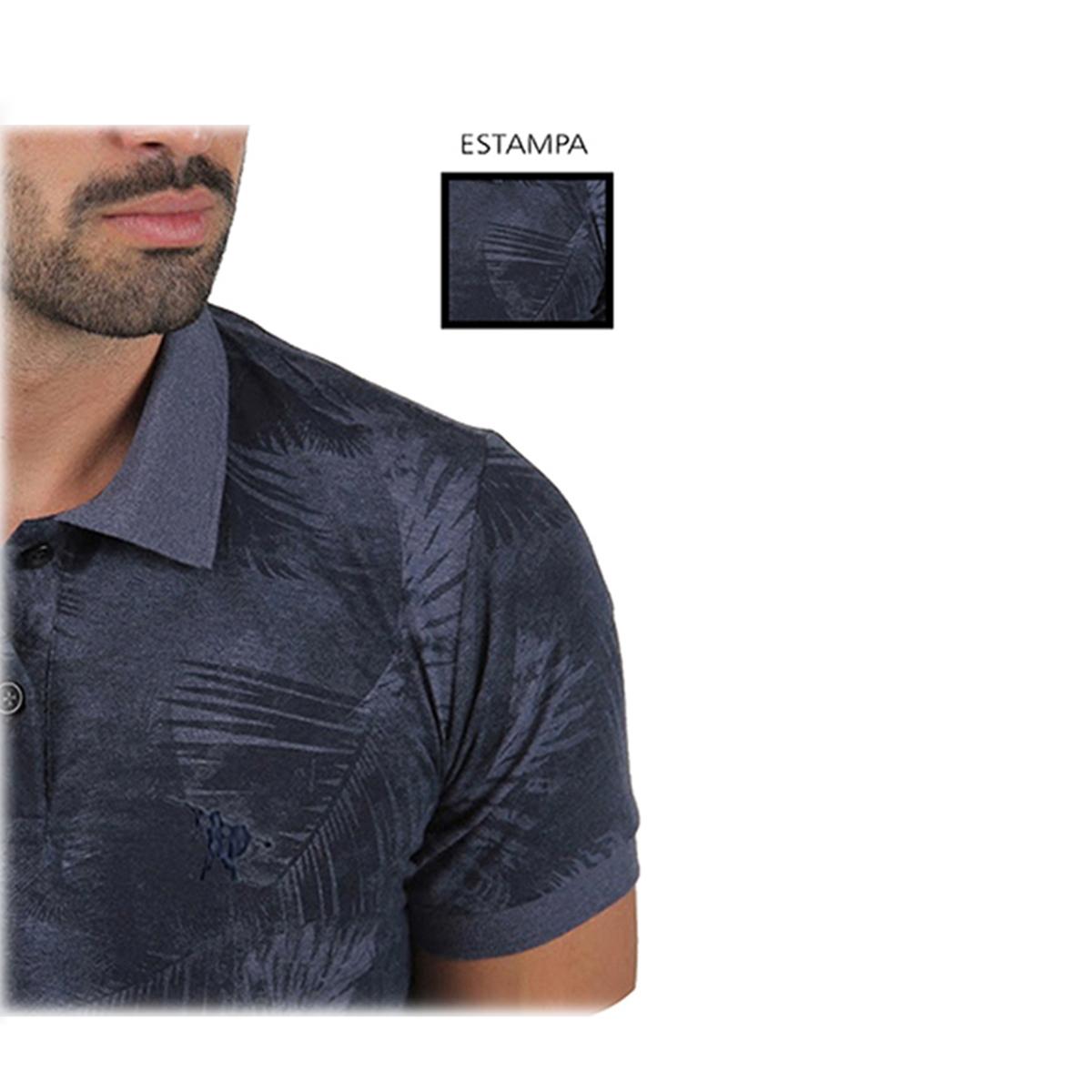 Camisa Polo Masculina Estampada Floral Azul Escuro