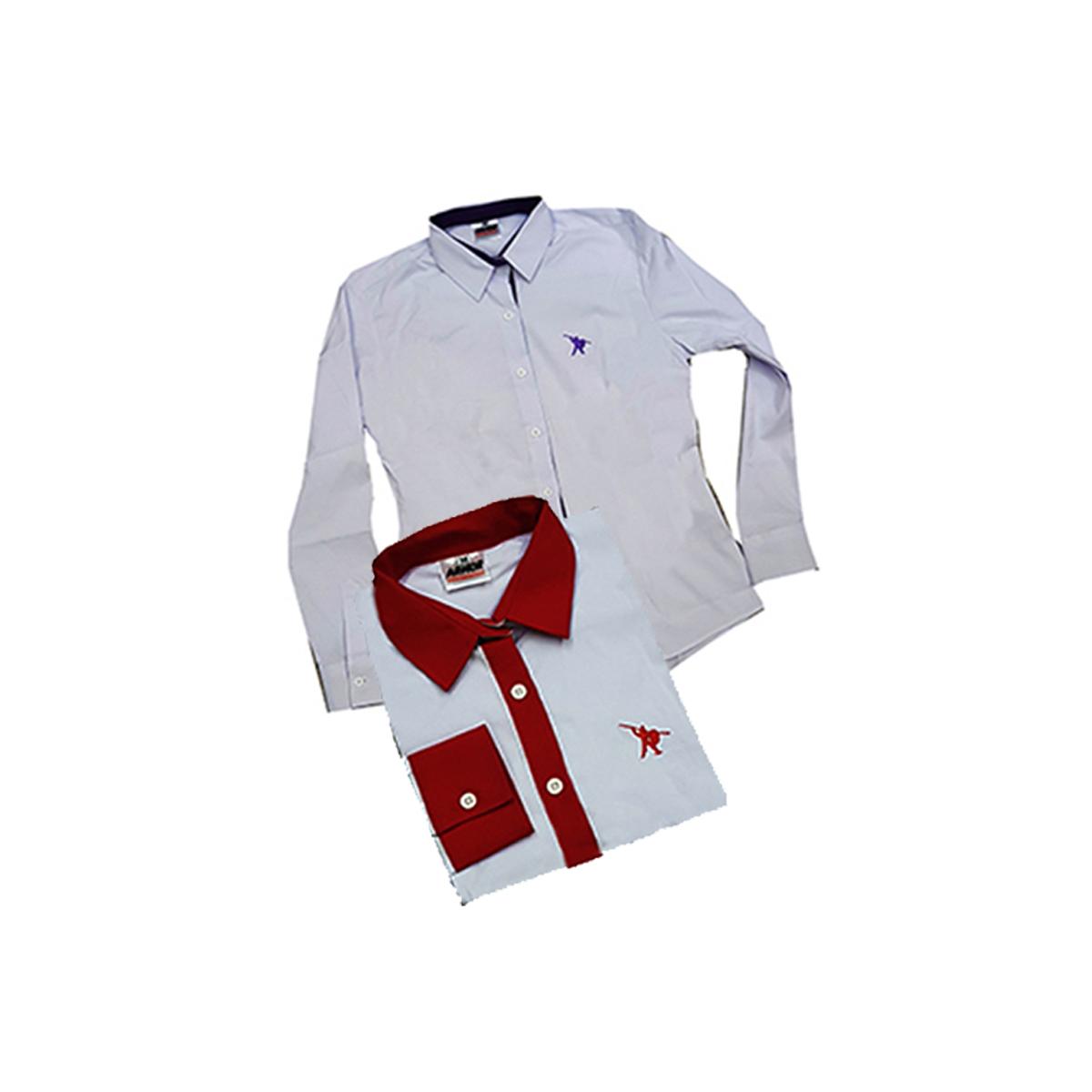 Camisa Social Feminina Branca com detalhes e logo bordado