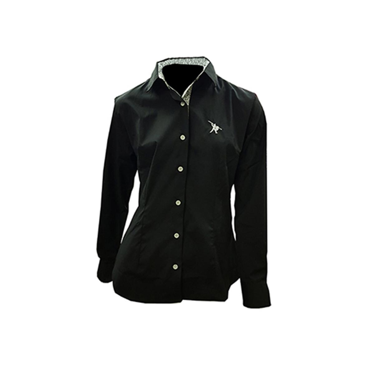 Camisa Social Feminina Preto com Flor e logo Bordado