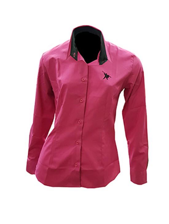 Camisa Social Feminina Rosa Fúcsia