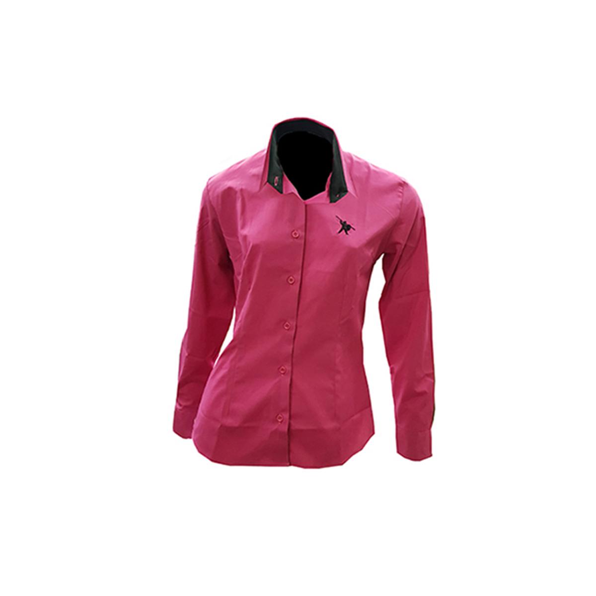 Camisa Social Feminina Rosa Fúcsia com logo bordado