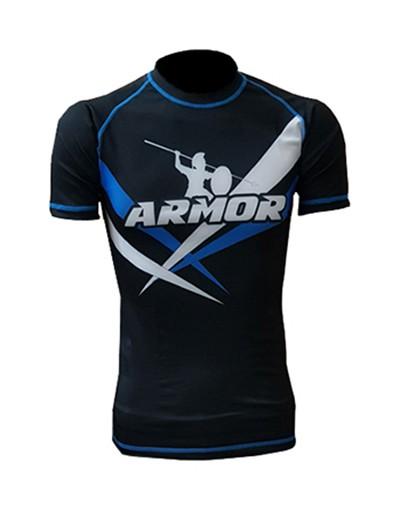 Rash Guard Armor Fight Manga Curta Logo Azul