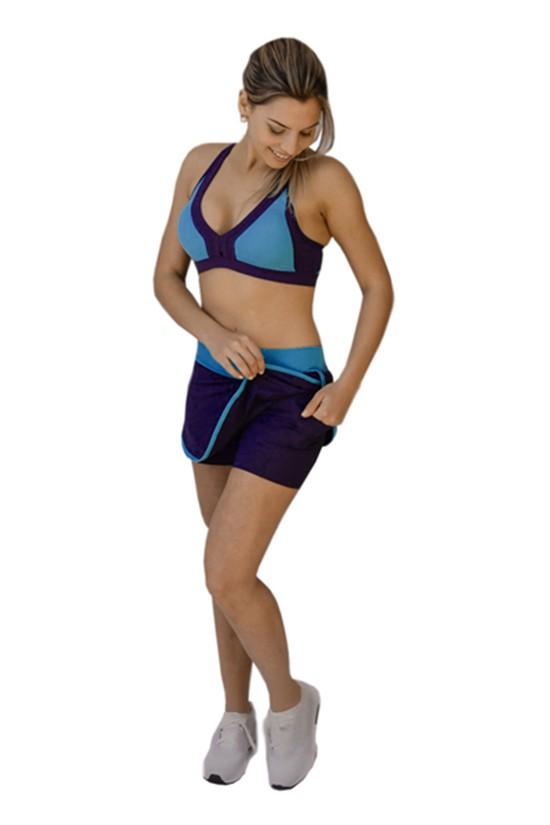 Short Saia Bicolor - Azul com Marinho