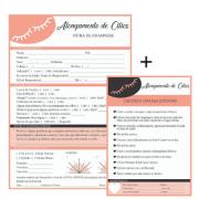 Kit Bloco Ficha De Anamnese + Cuidados Alongamento De Cílios