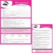 Kit Ficha de Anamnese Micropigmentação + Bloco Cuidados Cliente