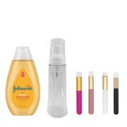 Kit Frasco Espumador Cristal 50ml + Johnsons 200ml + Pincel de Limpeza
