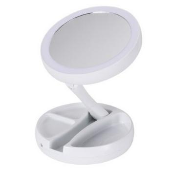 Espelho De Luz Led Portátil Dobravel Maquiagem Aumenta 10x