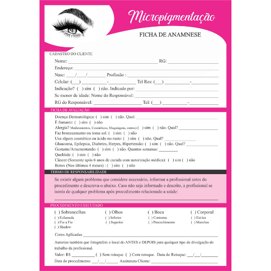 Ficha de Anamnese Micropigmentação