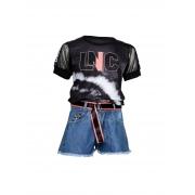 Conjunto Juvenil Blusa e Short Jeans