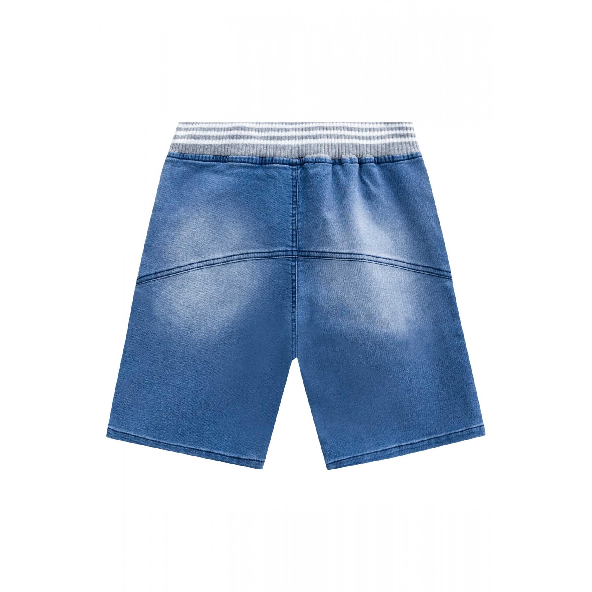 Bermuda Jeans com cós de moletom