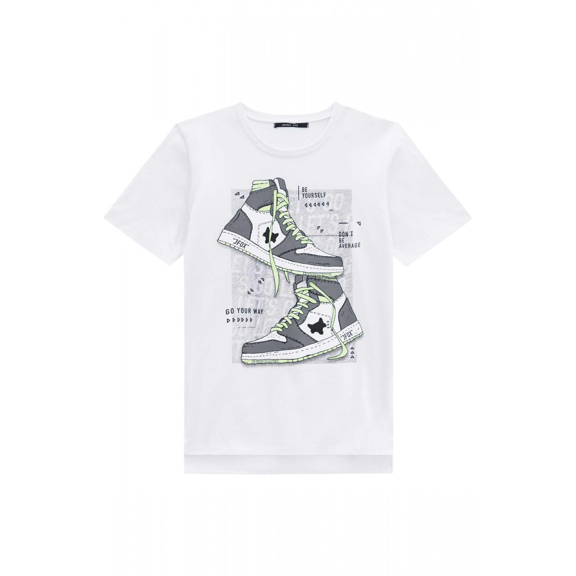 Camiseta Juvenil Branca Estampada