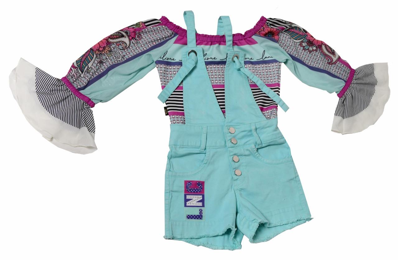 Conjunto Infantil Jardineira e Blusa