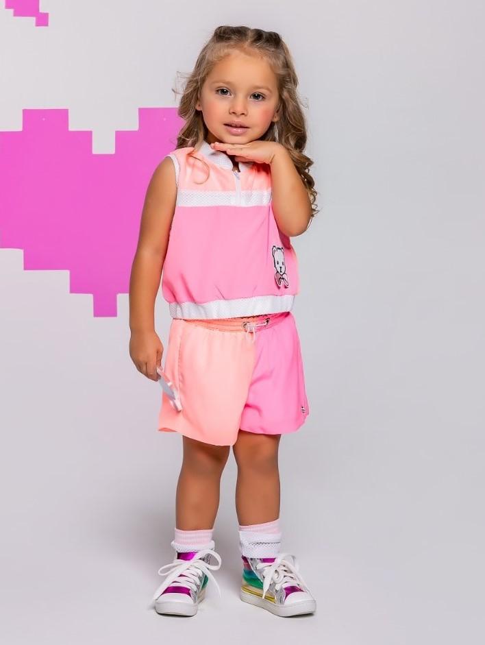 Conjunto Infantil Short e Blusa Neon