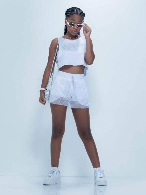 Conjunto teen short, blusa e top