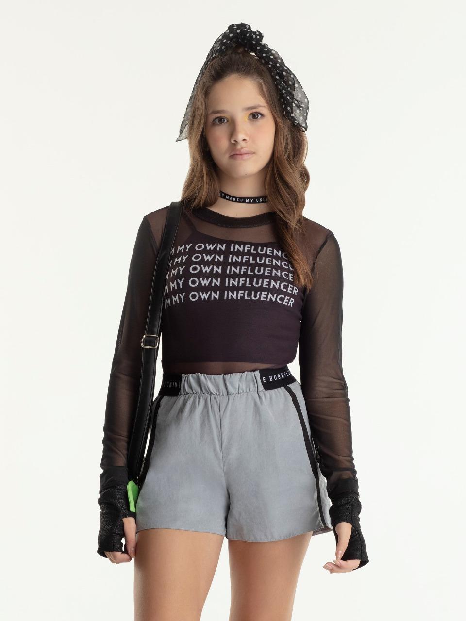 Conjunto teen feminino body, top e short