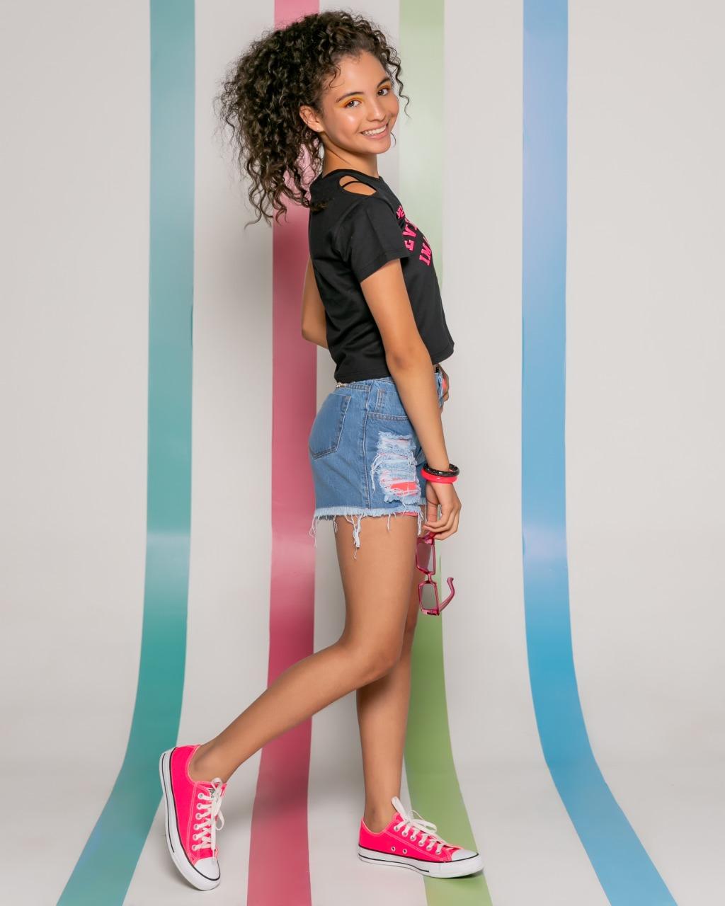 Short Jeans Forro Rosa