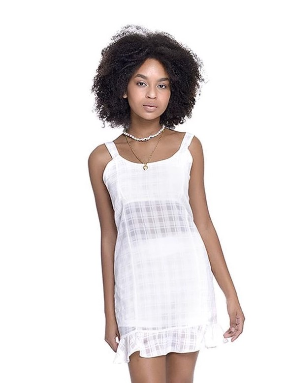 Vestido juvenil feminino xadrez com transparencia