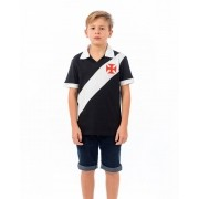 Camisa polo Vasco infantil Paris - preto