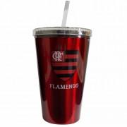 Copo Flamengo de plástico com canudo 600 ml