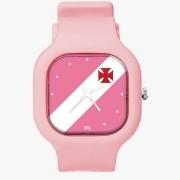 Relógio Vasco Rosa + Pulseira Silicone Baby