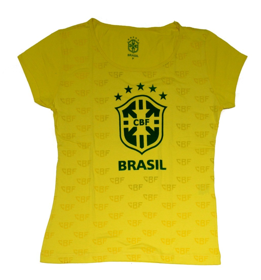 Camisa Brasil feminina Logo CBF - Amarela