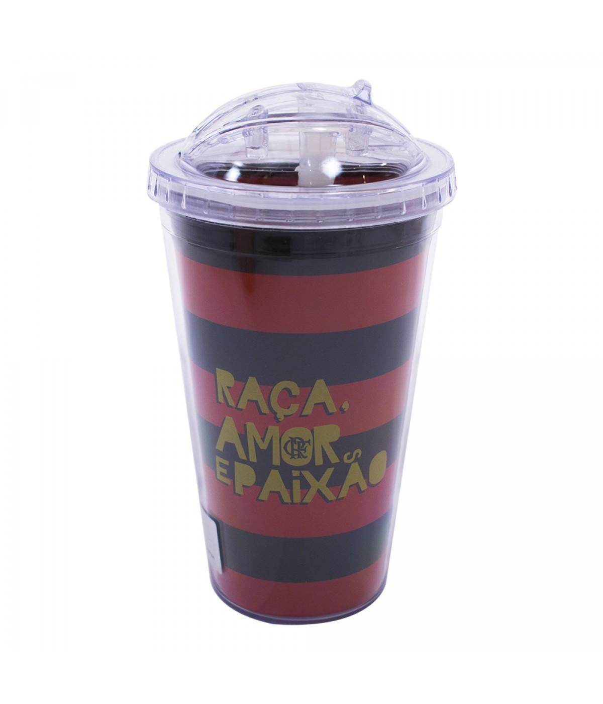 Copo Flamengo tampa bico silicone 600 ml