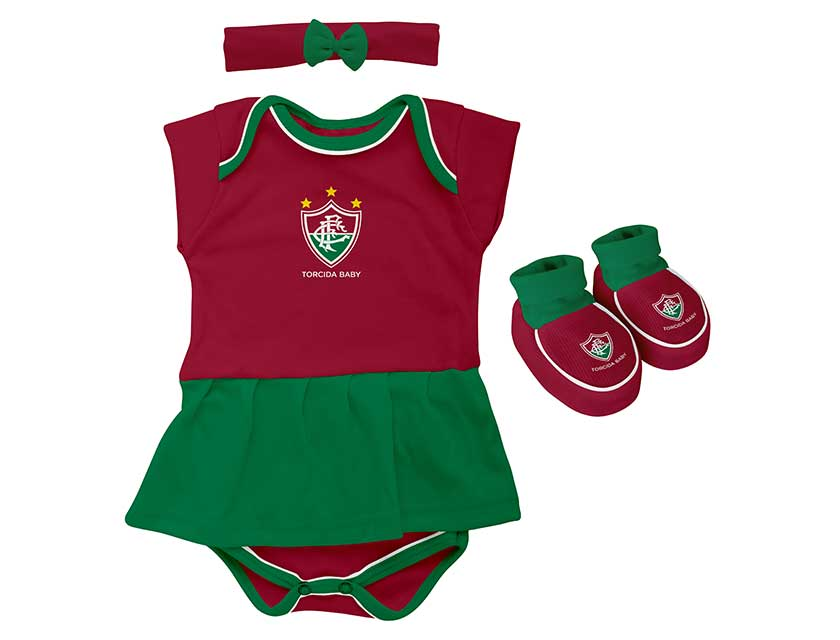 Kit 3 Peças Body menina colorido Fluminense