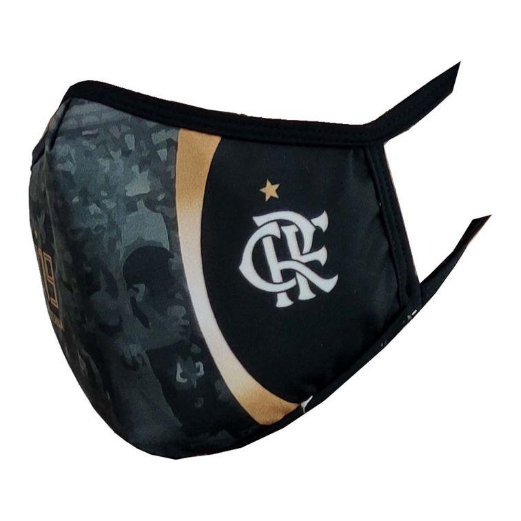 Máscara Flamengo Preta CRF Dourado