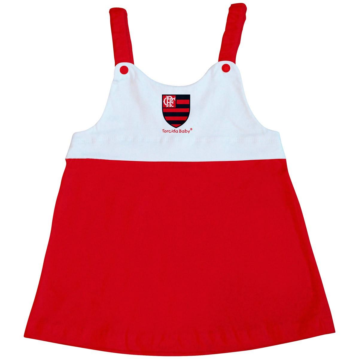 Vestido Flamengo com alça infantil .