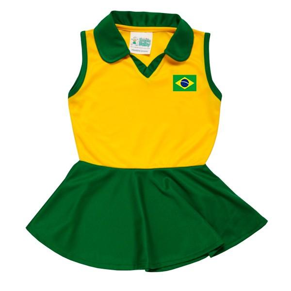 Vestido gola polo Brasil infantil .