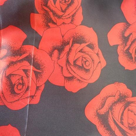 Tecido Cetim Estampa Rosas - 1,40m de Largura