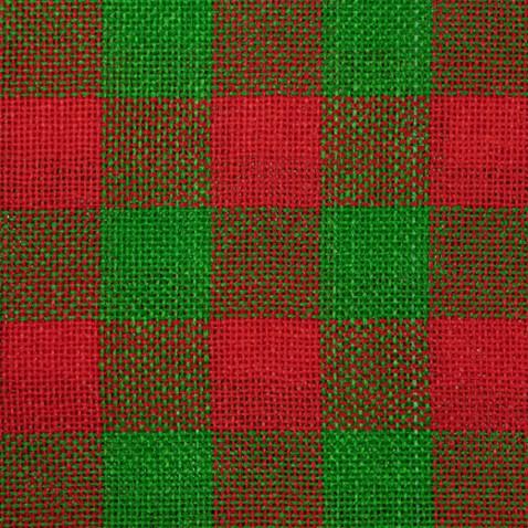 Tecido Jutex Xadrez Grande Verde/Vermelho - 1,00m de Largura