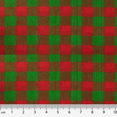 Tecido Jutex Xadrez Verde/Vermelho - 1,00m de Largura