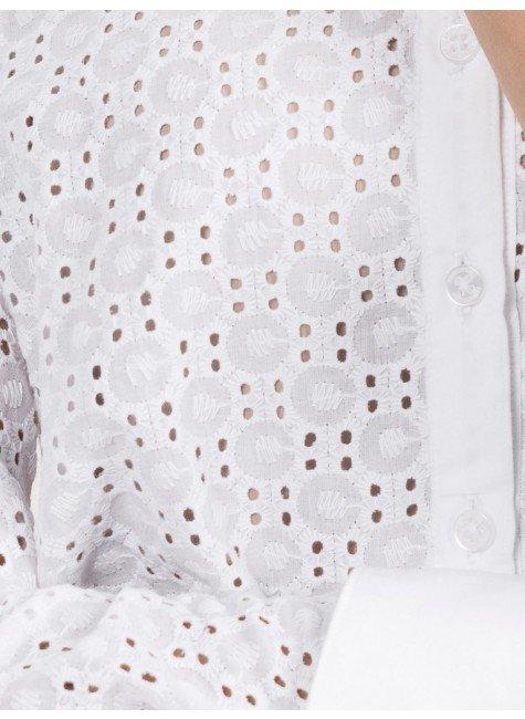 Tecido Layse Bordado Branco - 1,25m de Largura