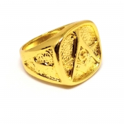 Anel Dedeira Maçom Dourado All Gold Banhado Ouro 18k