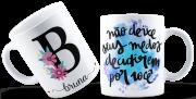 Caneca Cerâmica com Nome Letra Inicial Personalizada Frases