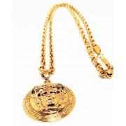 Colar Corrente Elos Cadeado Banhada Ouro Medusa